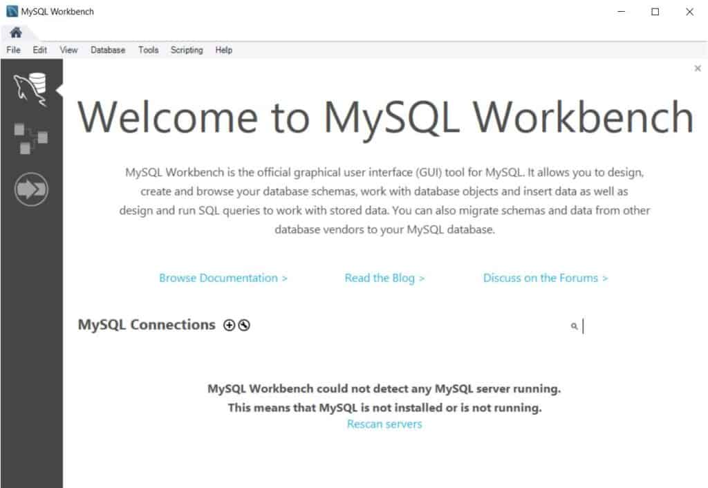 MySQL Workbench - did not detect any connections