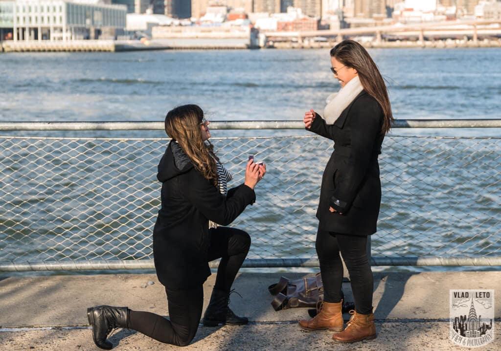 Photo 2 Same Sex proposal by Brooklyn Bridge + Engagement in Central Park | VladLeto