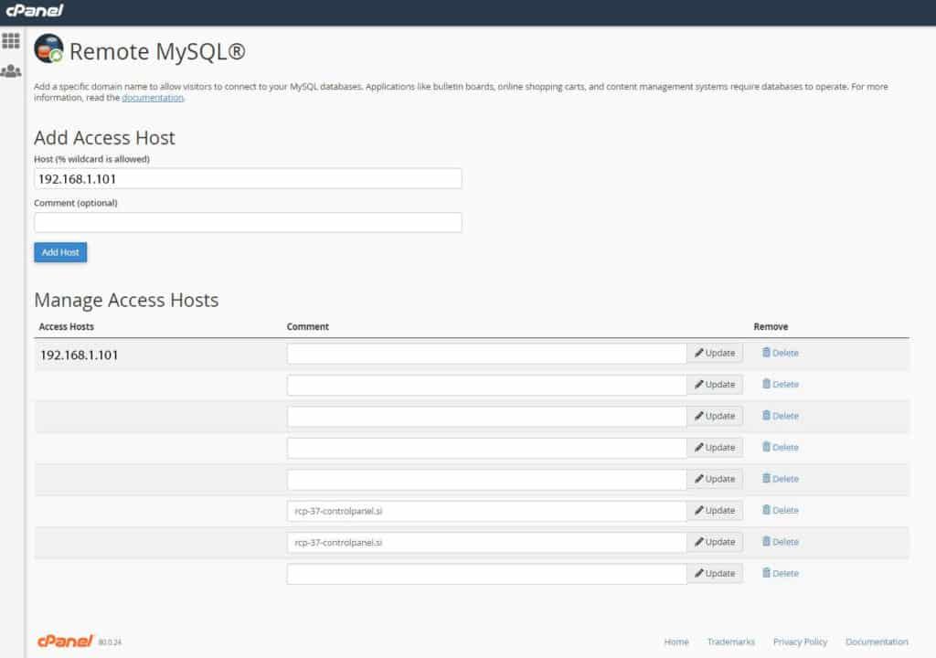 Remote MySQL connection