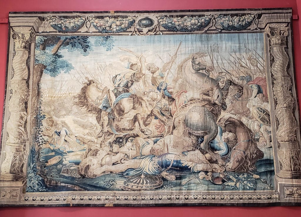 One of the many very details and large tapestries hanging on the walls throughout Kilkenny Castle
