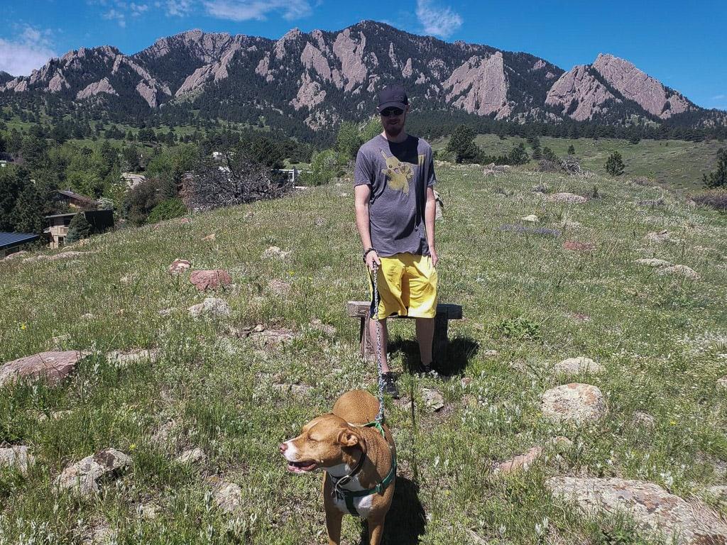 Walking a dog in Boulder