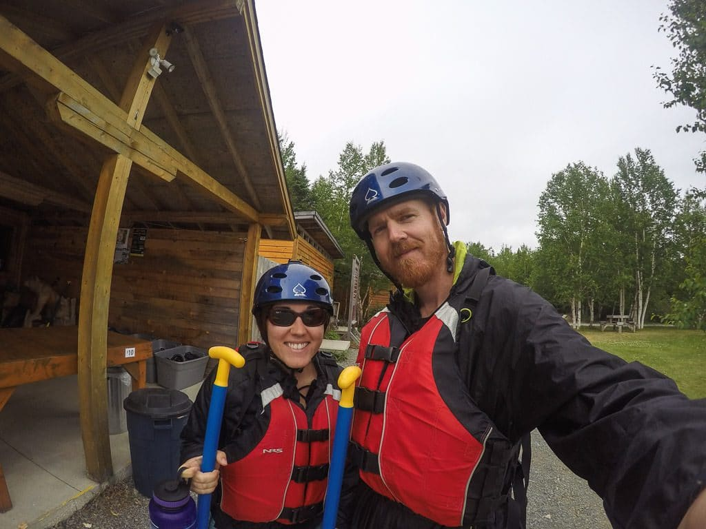 Brooke and Buddy selfie prior to going rafting in Newfoundland