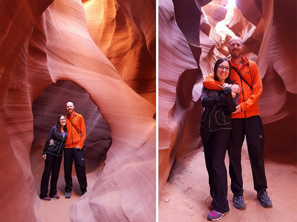 Brooke and Buddy posing for photos in Lower Antelope Canyon that their tour guide took for them