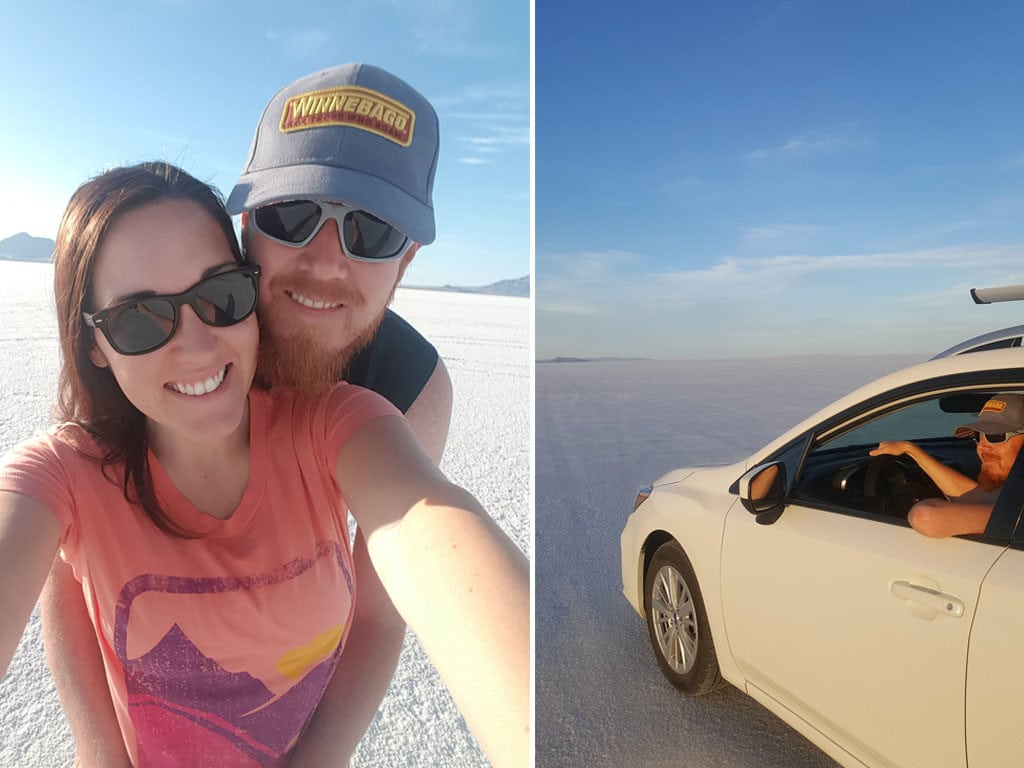 Brooke and Buddy at the Bonneville Salt Flats and Buddy in the driver's seat of the Subaru getting ready to have fun