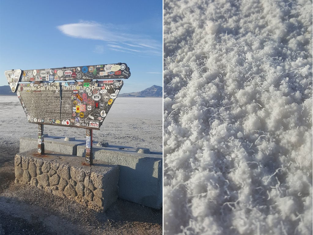 Visitor area for the bonneville salt flats off the main road, and a close up of th salt