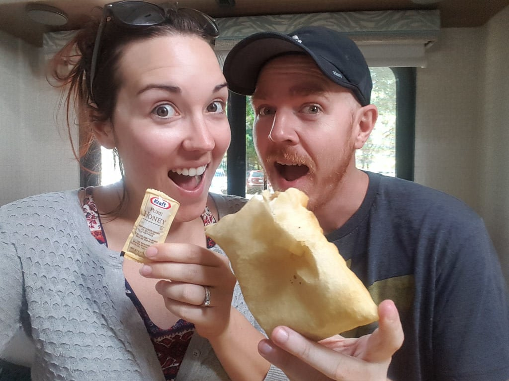 Brooke and Buddy with a large fluffy sopapilla we got in Santa Fe, New Mexico