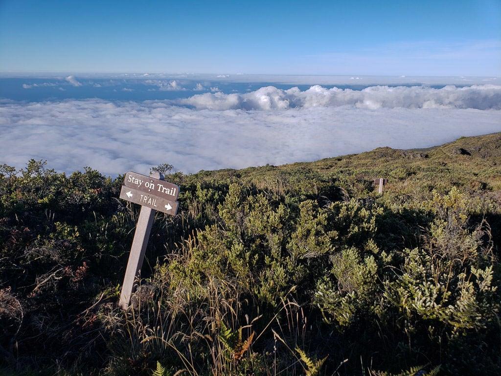 Trail sign for Halemau'u Trail in Haleakalā National Park