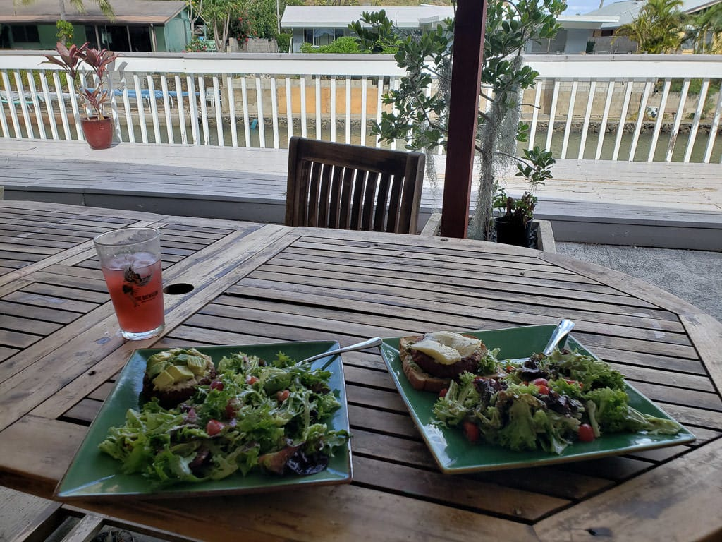 healthy meal on porch while house sitting in oahu