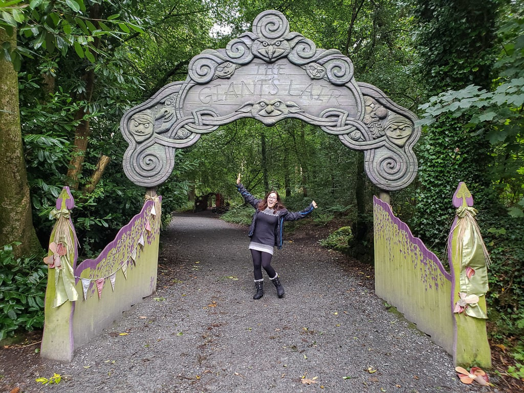 Brooke excited under the sign for the Giant's Lair entrance