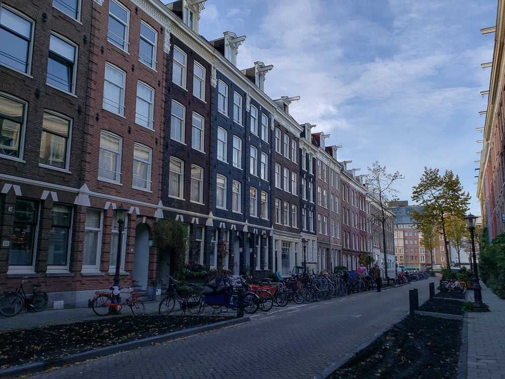 amsterdam city street with bicycles