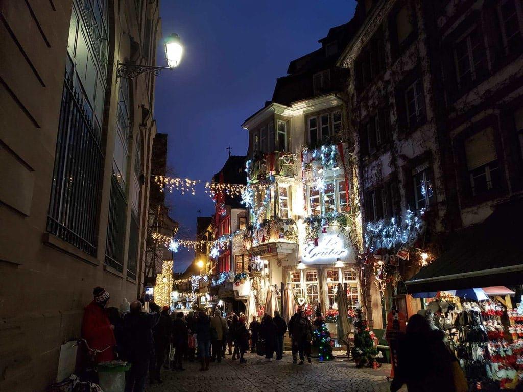 christmas light street in strasbourg france