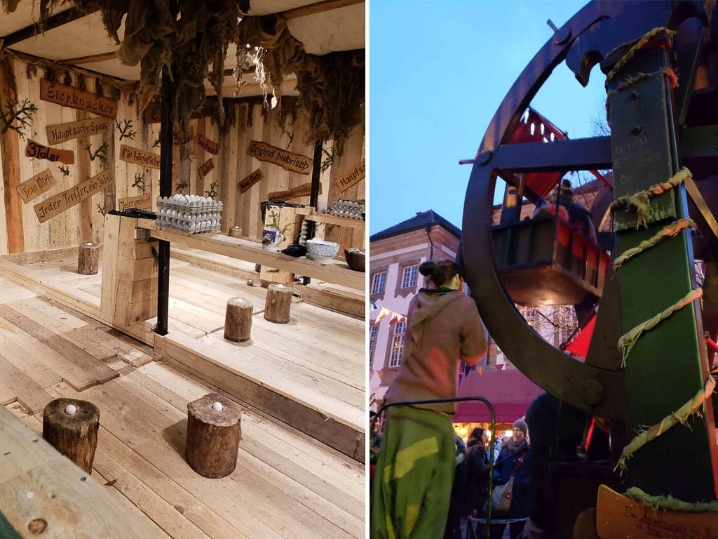 rides and games at esslingen medieval christmas market in germany