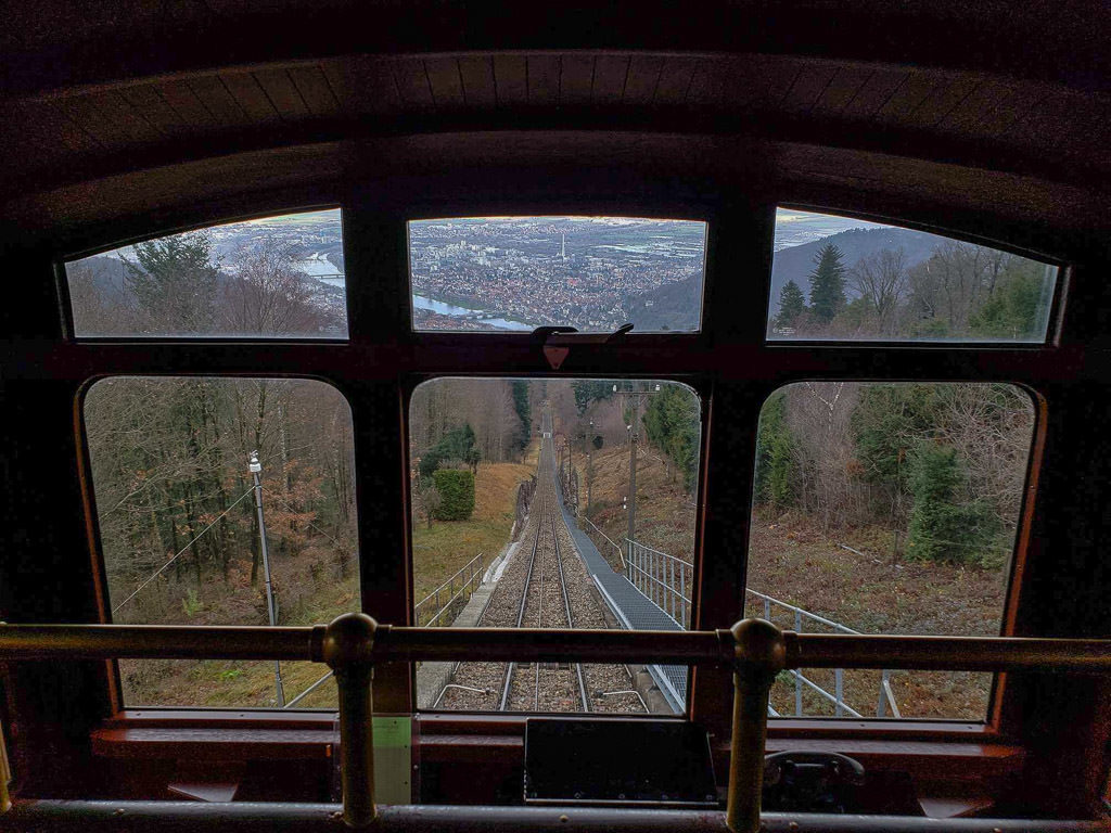 funicular to heidelberg castle ruins in germany