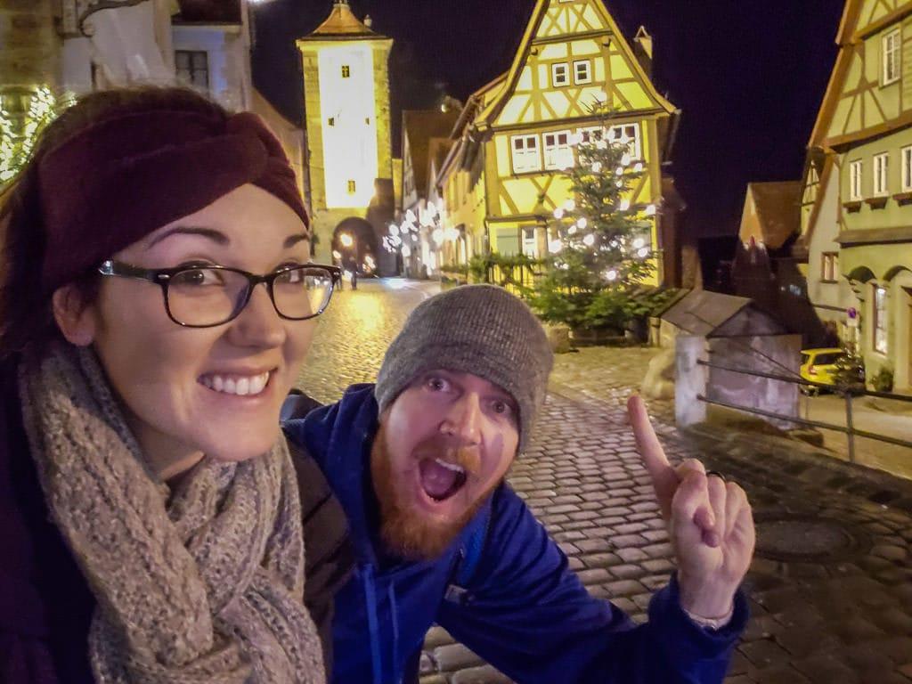night selfie in rothenburg germany