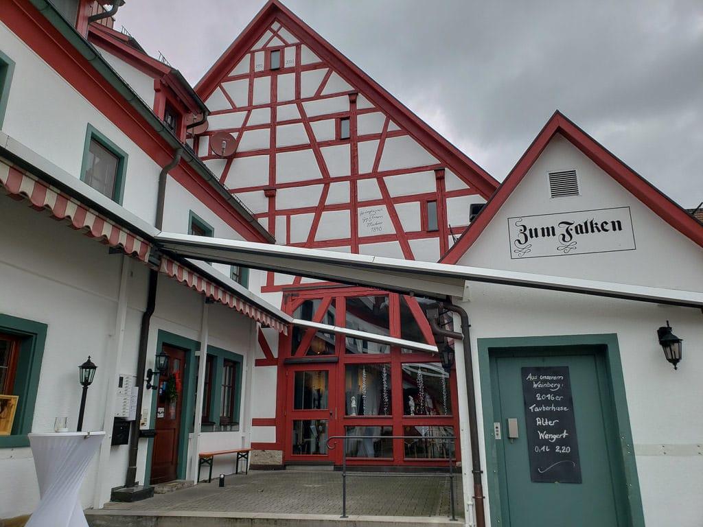 colorful Gasthof zum Falken near rothenburg germany