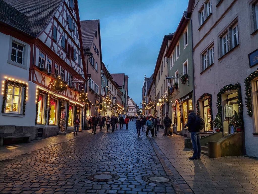 street decorated for christmas in rothenburg in germany