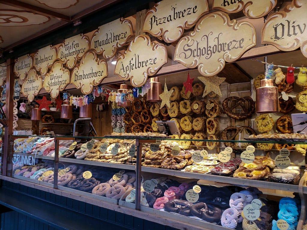 salzburg austria christmas market pretzel stand