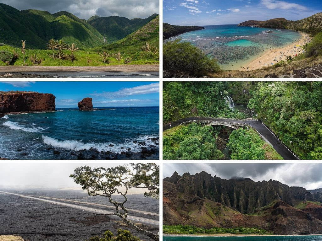 photos of all different hawaiian islands to show varying landscapes