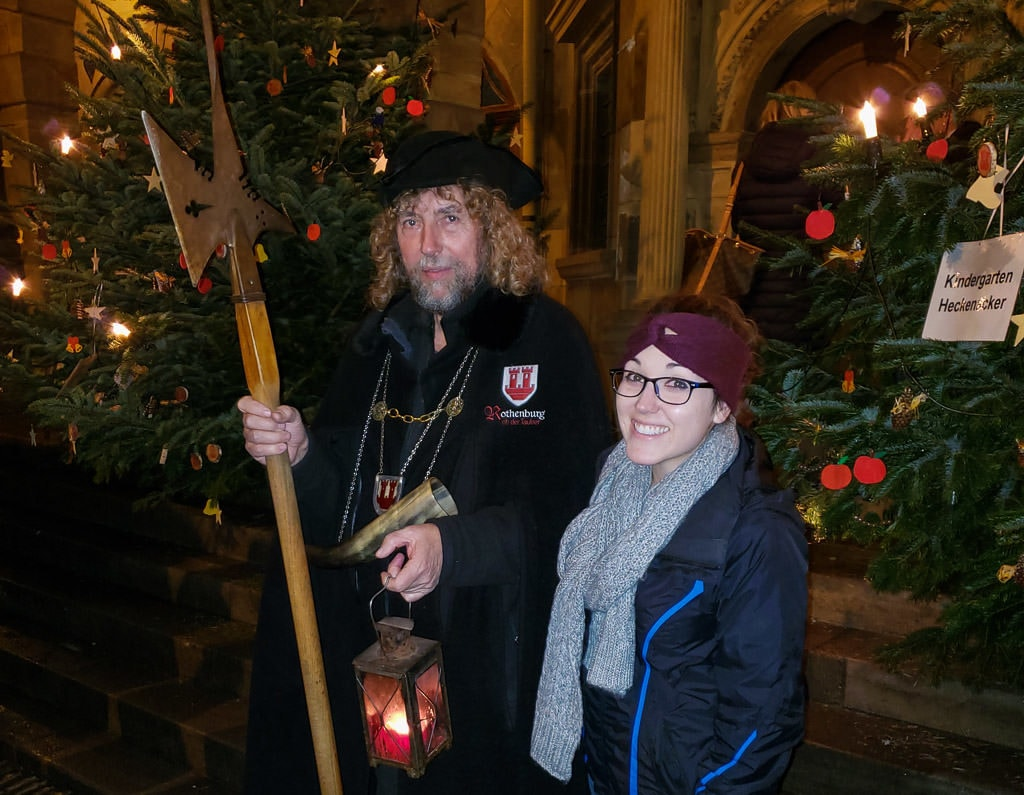 photo with night watchman after tour in rothenburg germany