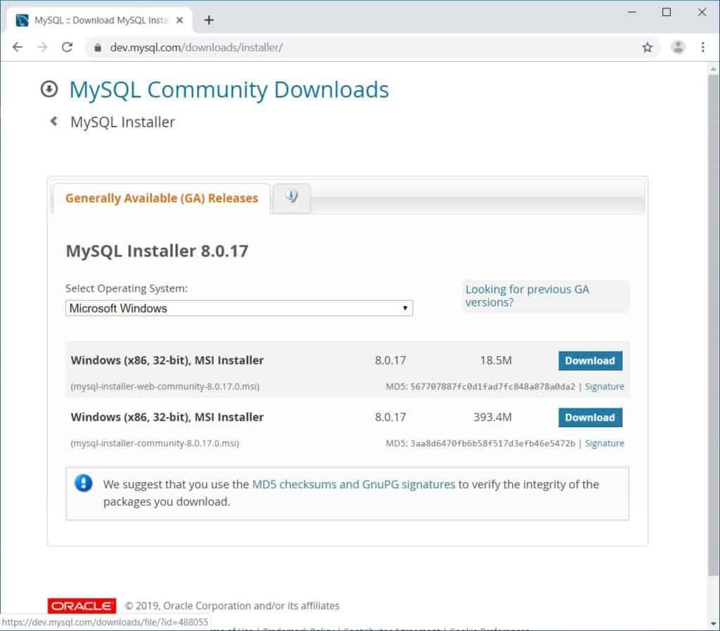 MySQL Workbench - Downloading from webpage