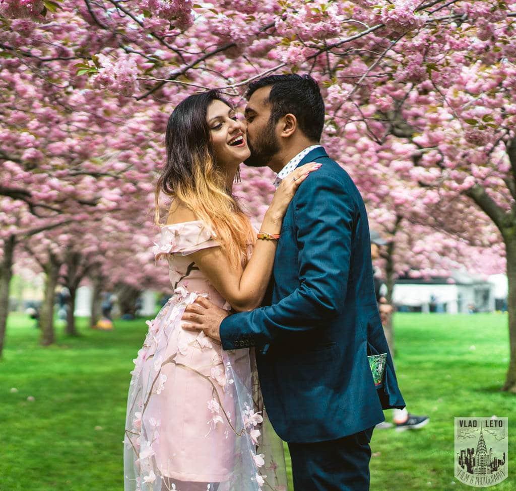 Photo 4 Cherry Blossom Marriage Proposal in Brooklyn Botanical Garden   VladLeto