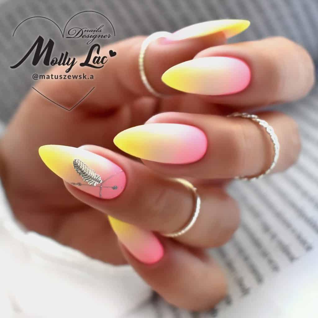 trudne kolory w manicure hybrydowym pastele i neony