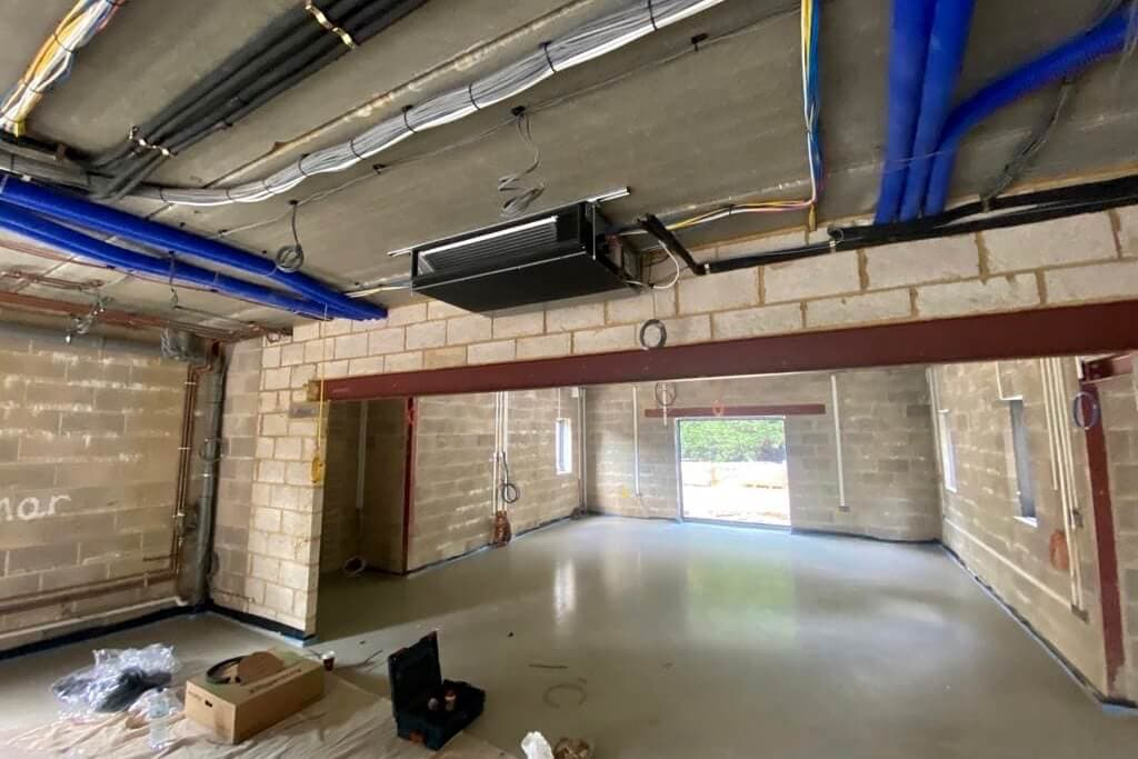 SubCool FM, Woodlands, Colgate, full M&E and aircon installation with MVHR - in progress, interior building works with air con installed