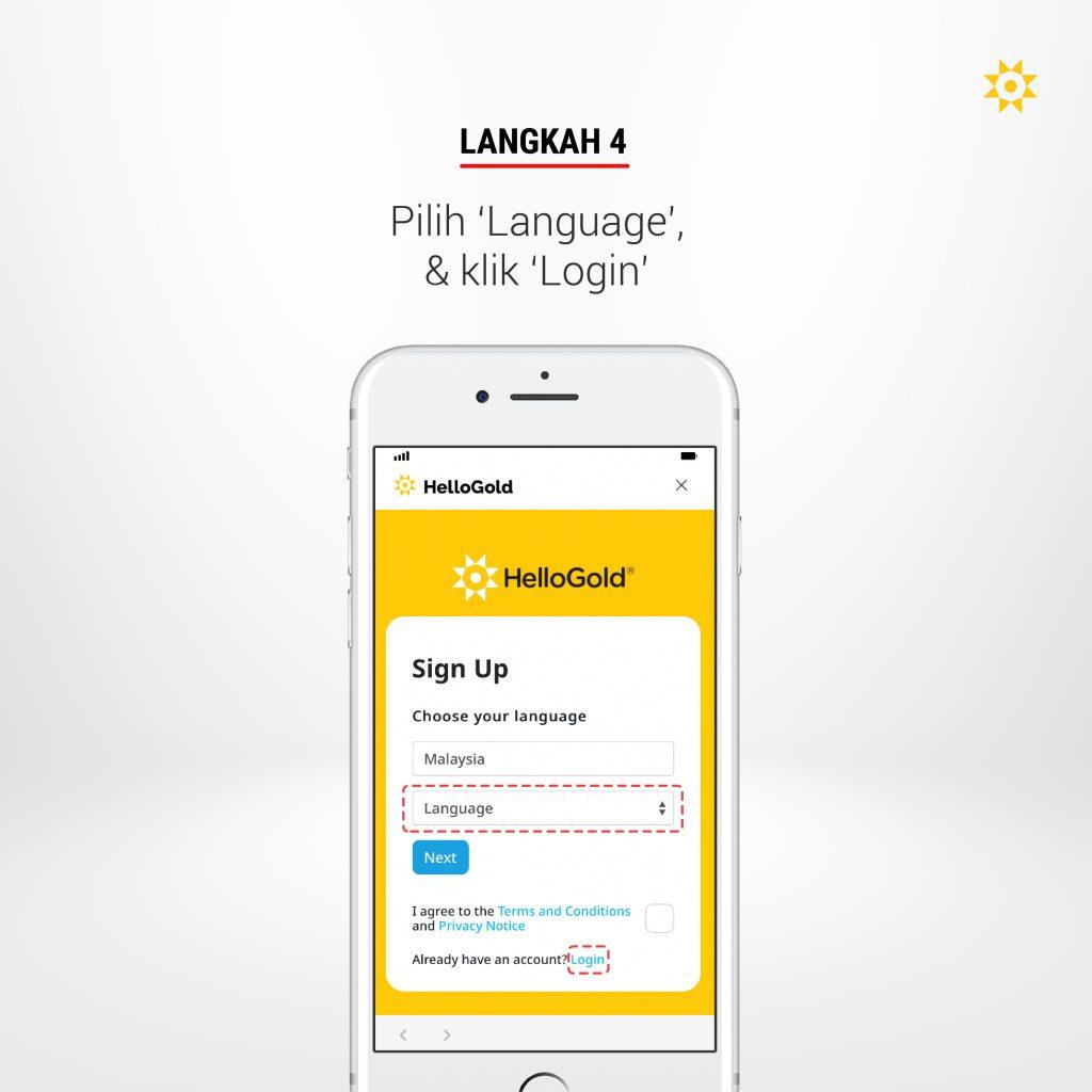 Langkah 4: Pilih 'Language' & klik 'Login'