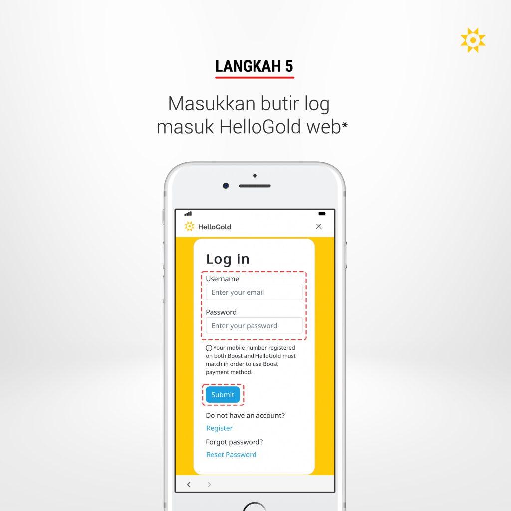 Langkah 5: Masukkan butir log masuk HelloGold web*