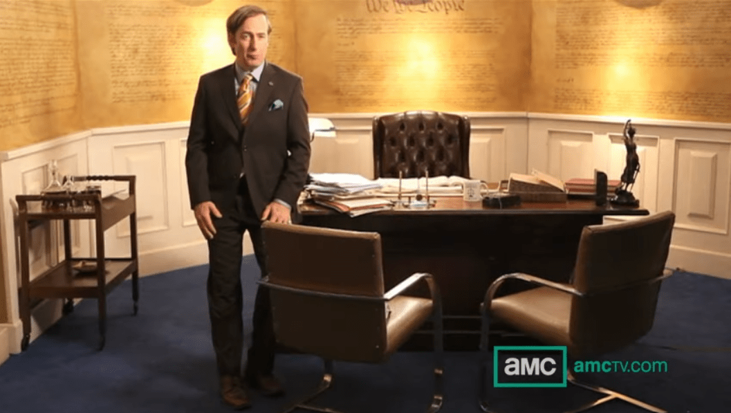 Saul Goodman at office desk linking to YouTube video