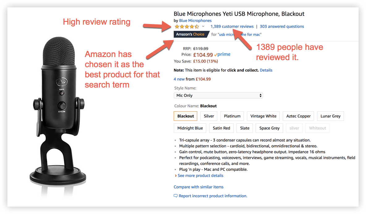the product page for the Blue Yeti microphone