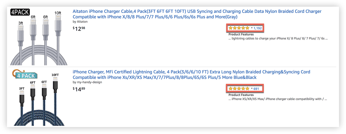 a screenshot of two identical products on Amazon. One has more reviews than the other.