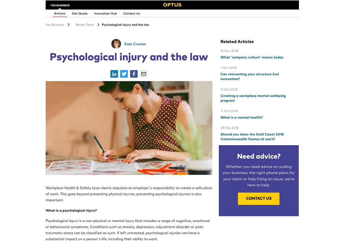 Psychological Injury and the law