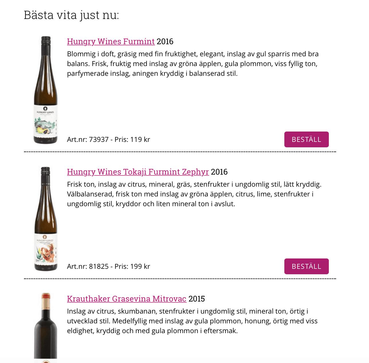 """Hungry Wines Furmint """"Bäst just nu"""" – """"Östeuropa levererar"""" på Vinguiden.com"""