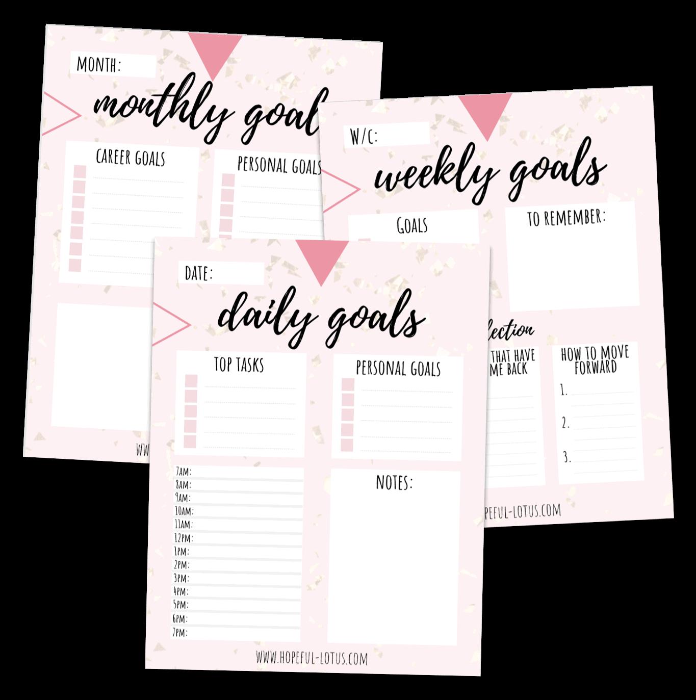 free printable goal planner