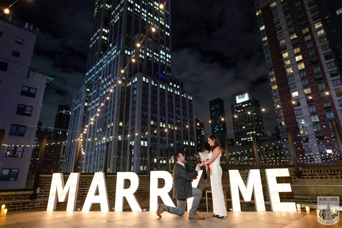 Photo 2 Gigantic Marry Me Letters Rooftop Proposal | VladLeto