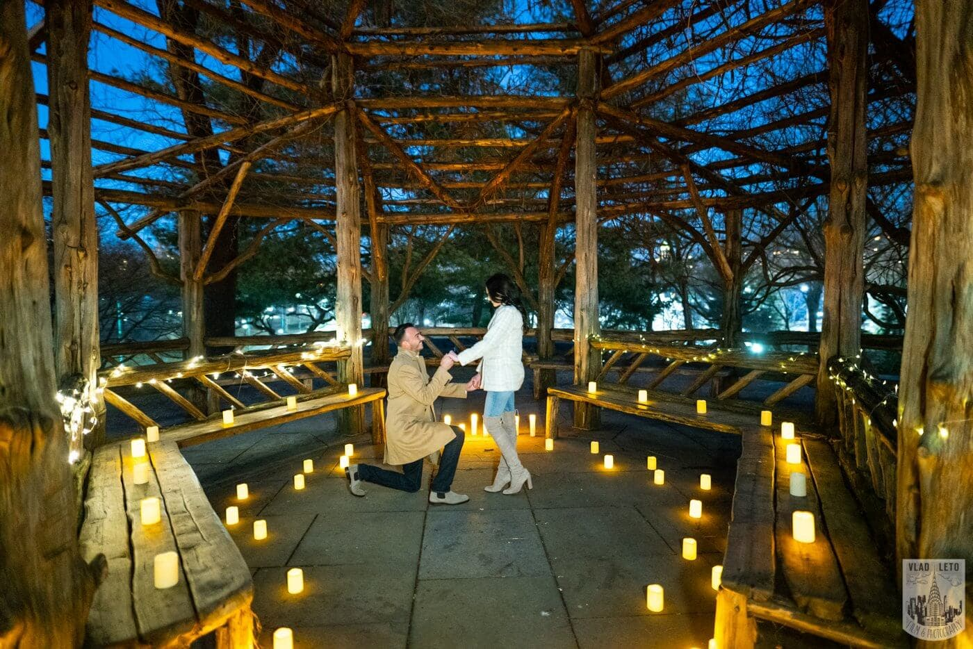 Photo Night Proposal with Candles in Central Park | VladLeto
