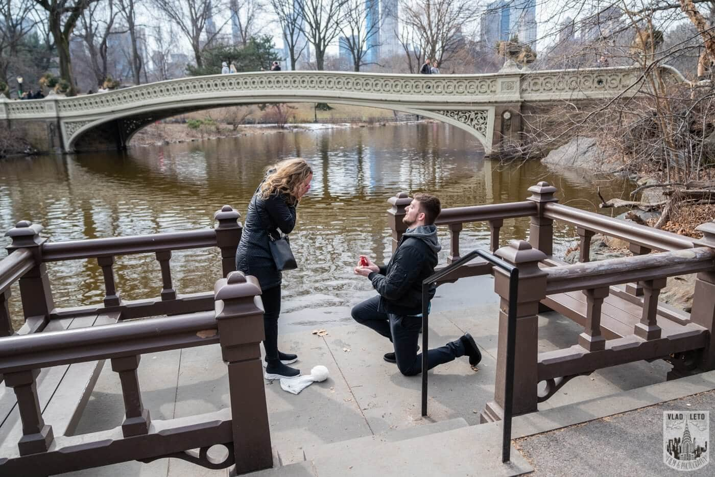 Photo Bow bridge wedding proposal in Central Park   VladLeto