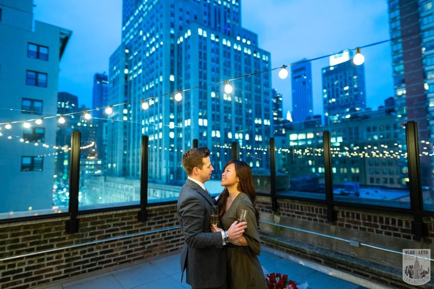 Photo 5 Wedding proposal on a private rooftop with Empire State building view.   VladLeto