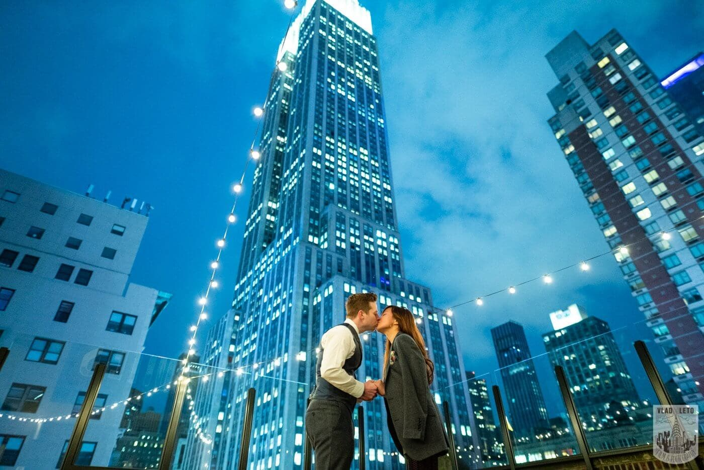 Photo 3 Wedding proposal on a private rooftop with Empire State building view.   VladLeto