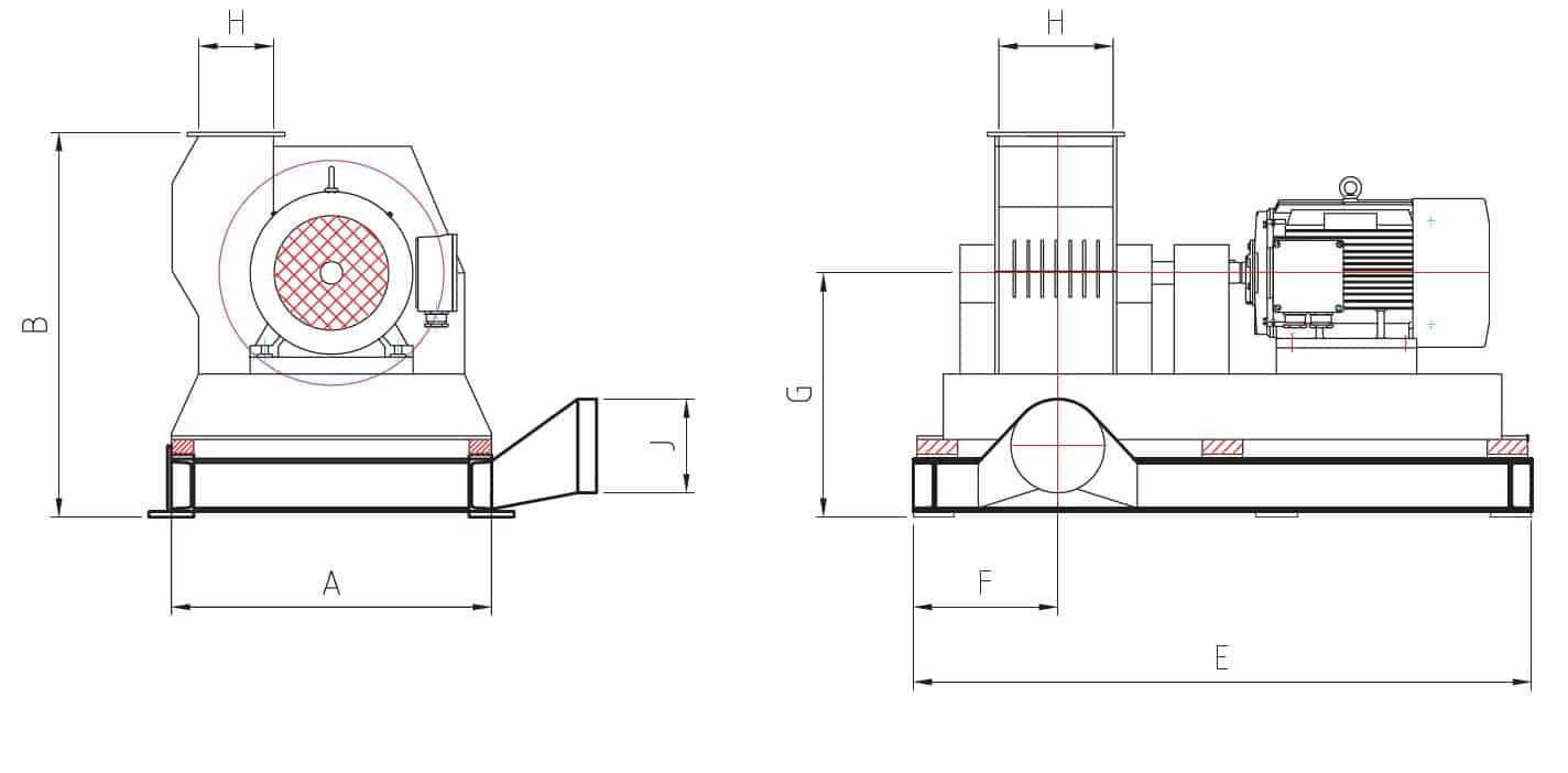 Side view of a hammer mill with technical material
