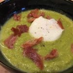 Pea Soup With Ham & Poached Egg - quick and easy starter recipe. Perfect starter for a dinner party, pea soup tastes amazing!   AmateurChef.co.uk