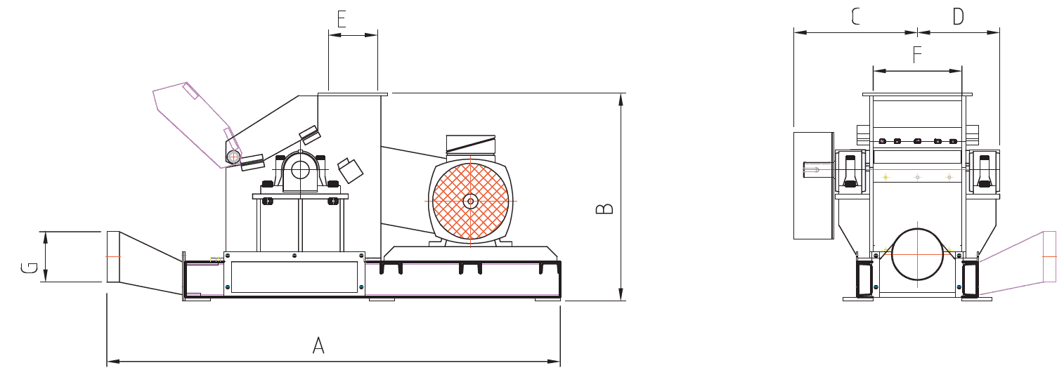 Technichal drawing of re shredder from side and front