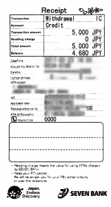 Land-fxカードセブン銀行ATM出金レシート