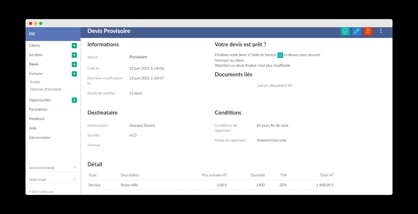 Facture.net création de devis