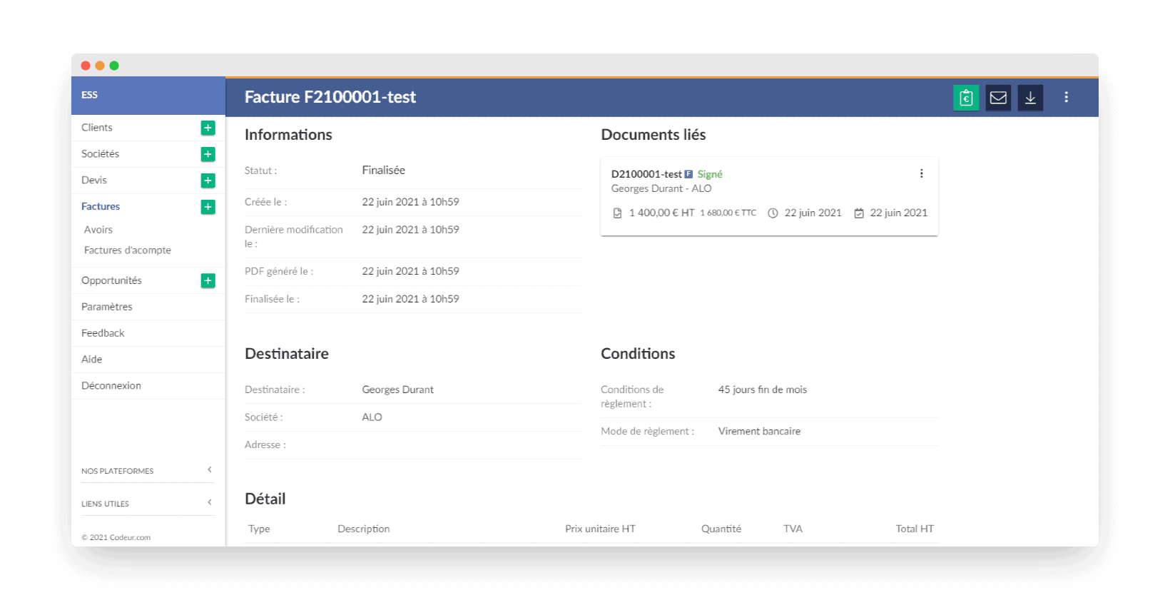 Facture.net création de facture