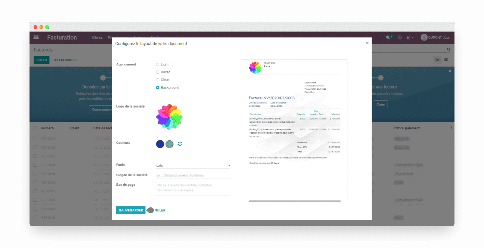 odoo templates factures