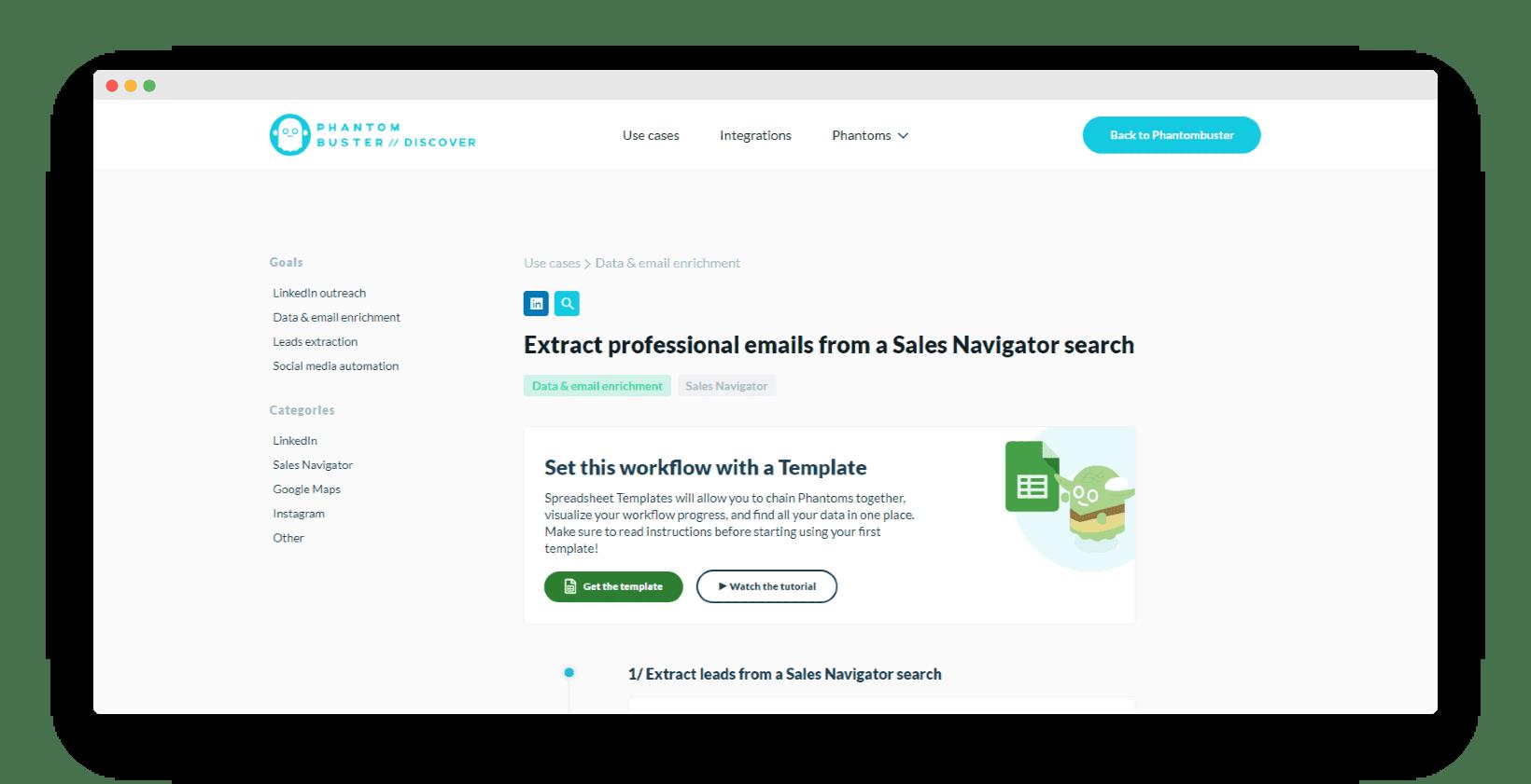 phantombuster cas d'usage LinkedIn Sales Navigator