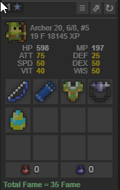 Rotmg account archer 6/8 with some gifts [Budget]