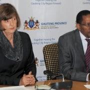 Gauteng finance MEC Barbara Creecy (left) and FNB's Danny Zandamela, CEO of public sector banking